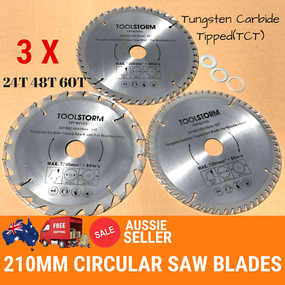 AU32.45 • Buy *3PC Circular Saw Blades 210mm 24T,48T,60Teeth 30MM BORE With 3 Reduction TCT
