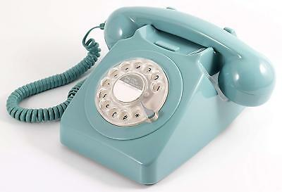 Retro Corded Telephone Landline GPO 746 Phone - Working Rotary Dial - Pale Blue • 39.99£
