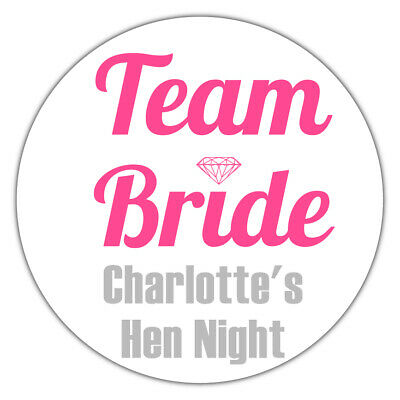 24 Personalised TEAM BRIDE Hen Night Party Gloss Stickers Labels Favours GLOSSY • 1.99£