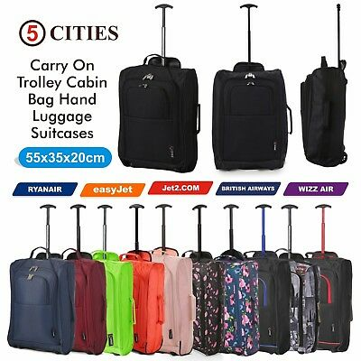Lightweight Small 21  Wheeled Hand Luggage Trolley Cabin Bag Flight Bag Suitcase • 11.99£