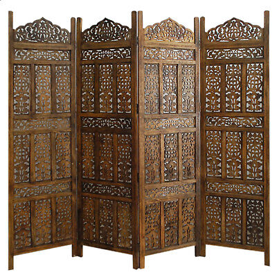£161.90 • Buy Paravent 4 Panel Indian Hand Carved Wooden Screen Room Divider Free P & P  K 1