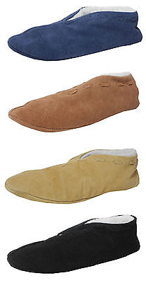 £9.99 • Buy Boys Ladies Suede Leather Faux Sheepskin Lined Shoes Spanish Slippers Size 3-9