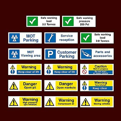 MOT Parking / Keep Clear / Lift / Compressed Air / Open - Plastic Sign, Sticker • 1.49£