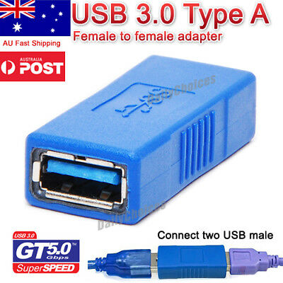 AU5.92 • Buy USB 3.0 A Female To Female Coupler Adapter Converter Joiner Cable Extension Plug