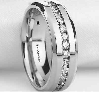 New Boxed Mens Created Diamonds Titanium Wedding Engagement Band Ring- 8mm • 37.99£
