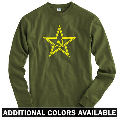 8ce8b5a8 USSR Star Long Sleeve T-shirt LS - Sickle Scythe Communist Russia - Men /