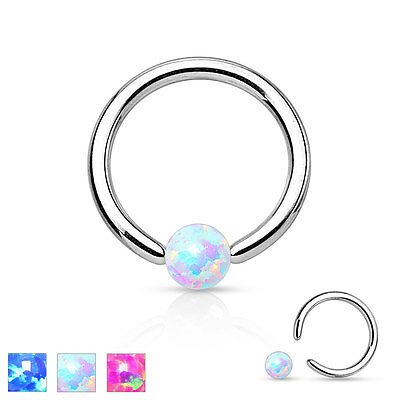 Surgical Steel Opal Ball BCR Captive Bead Ring CBR Cartilage Tragus Hoop Ring • 2.91£