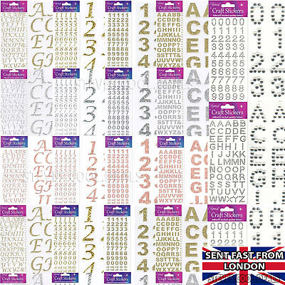 Craft Glitter Stickers Letters & Numbers Alphabet Gold Silver Birthday Cards Age • 2.55£