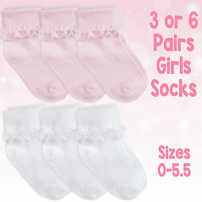 £5.49 • Buy Baby & Girls Socks Soft Breathable Cotton Rich Cute Frilly Lace In 3 & 6 Bundle
