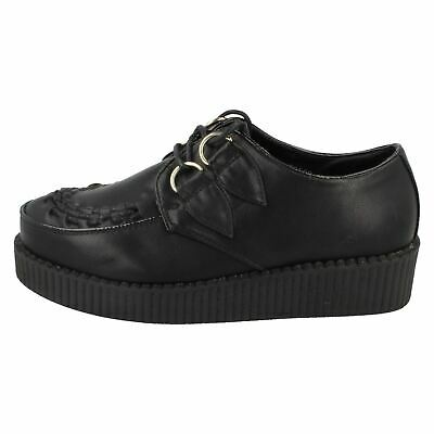 Ladies Spot On Black Lace Up Creepers Sizes 3-8 : F95588 • 5.99£