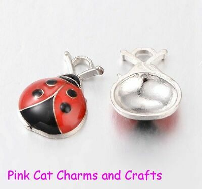 10 X Tibetan Silver & Red Enamel LADYBIRD INSECT BEETLE Charms  • 2.27£