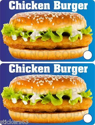 £3.99 • Buy Chicken Burger Stickers  Set Of 2  Catering Trailer Takeaway Cafe BBQ Fish Shop