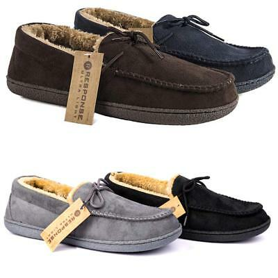 Mens Moccasins Slippers Loafers Faux Suede Sheepskin Fur Lined Winter Shoes Size • 8.95£