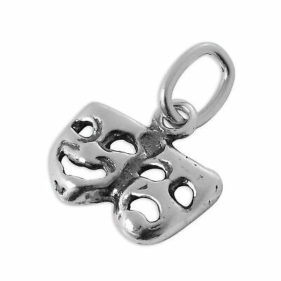 £4.65 • Buy Tiny Sterling Silver Comedy & Tragedy Masks Charm Theatre Acting Charms 925