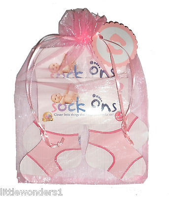 2 Pack Of Baby Girls Sock Ons Sock Keepers PINK GIFT SET  0-6 & 6-12 Months • 8.99£