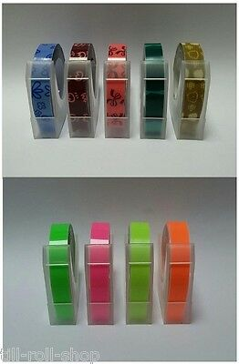 £14.50 • Buy Dymo Compatible 9mm Embossing Tape Pack - Pattern & Flo. Colours (9 X 3 Meters)
