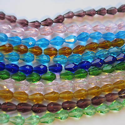 60 Teardrop Faceted Glass Beads Crystal 12 X 8mm Craft Jewellery Making  • 2.99£