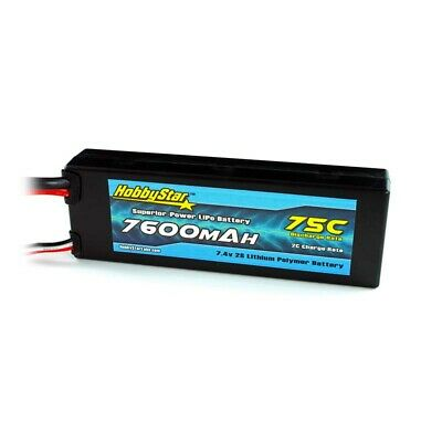 $ CDN77.76 • Buy HobbyStar 7600mAh 2S 7.4V 75C Hardcase LiPo Battery Deans Plug, RC Car Truck MT