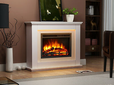 £299 • Buy Endeavour Fires Castleton Electric Fireplace In An Off White MDF Fire Suite