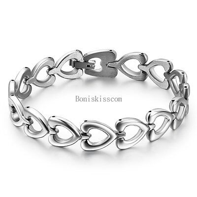 $7.59 • Buy Women's Ladies Silver Stainless Steel Love Heart Link Chain Bangle Bracelet
