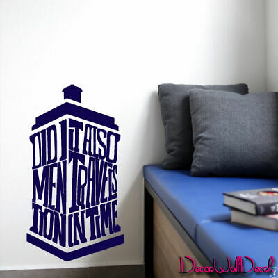 Wall Decal Doctor Who Tardis Quote Time Travels Police Box Dorm Bedroom M1624 • 22.37£