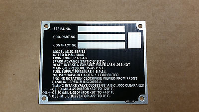 $19.50 • Buy M151 Parts Engine Data Plate 8754665
