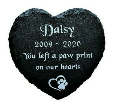 £8.99 • Buy Personalised Engraved Slate Stone Heart Pet Memorial Grave Marker Plaque Dog Cat
