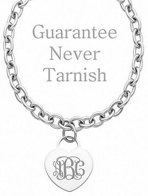 £21.23 • Buy Personalized Monogram Initial Name Heart Charm Necklace Custom Engraved