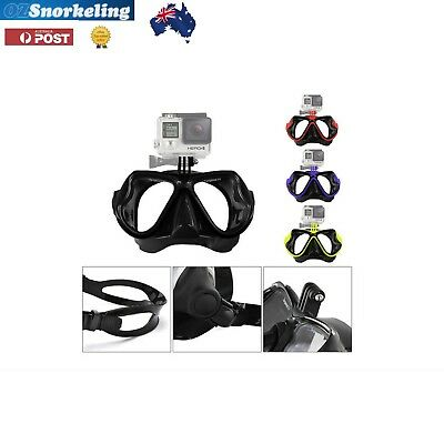 AU39.95 • Buy Gopro Diving Mask Snorkeling Tempered Glass Silicone Yellow Black Blue Red