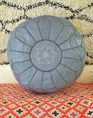 Moroccan Grey Hand Stitched Leather Pouffe • 61.99£