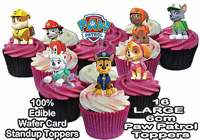 £1.99 • Buy Paw Patrol STAND UP Large 6cm Birthday Cup Cake Toppers Edible Rice Wafer Card