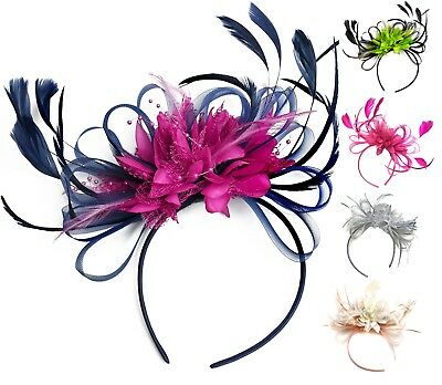 Customised Feather Hair Fascinator On Headband Wedding Royal Ascot Races Bespoke • 9.99£