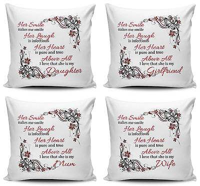 Her Smile Makes Me Smile...I Love That She Is My... Cushion Covers - 40cm X 40cm • 7.99£