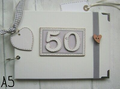 PERSONALISED 50TH Birthday .A5  SIZE. PHOTO ALBUM/SCRAPBOOK/MEMORY BOOK. • 12.50£