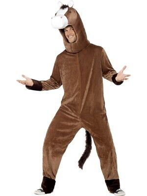 Adult's Horse Costume Mens Grand National Jockey Animal New Fancy Dress Outfit • 27.99£