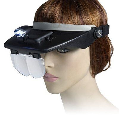 Led Craft Hands Free Head Magnifier Magnifying Lens Glass With Head Light Visor • 11.87£