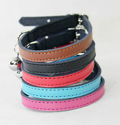 Cat Collar Kitten Real Leather Safety Elastic Free Post 5 Colours Bell • 3.99£
