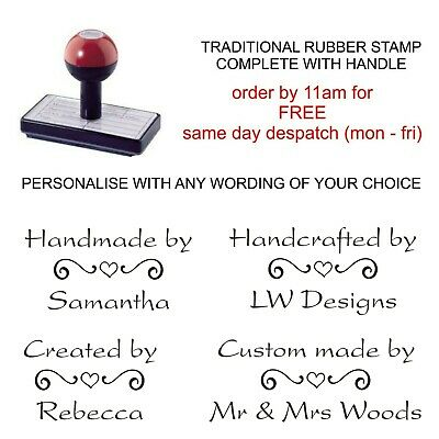 £8.75 • Buy Personalised Handmade By Rubber Stamp Heart Scroll Image And Your Name  Business
