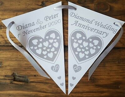 Personalised 60th Diamond Wedding Anniversary Party Bunting Banner Decoration • 4.99£