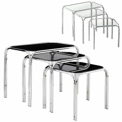 Nest Of 3 Tables Set Clear Glass Coffee Side End Table Chrome Finish Legs • 69.99£