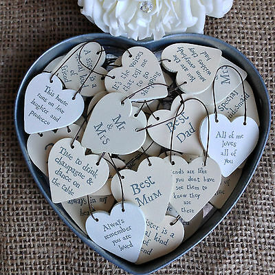 East Of India Tiny Miniature Wooden HEART Messages Gift Tags Signs Keepsakes • 1.75£