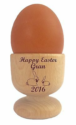 £8.95 • Buy Personalised Wooden Dippy Egg Cup Happy Easter Bunny And Any Name Present Gift