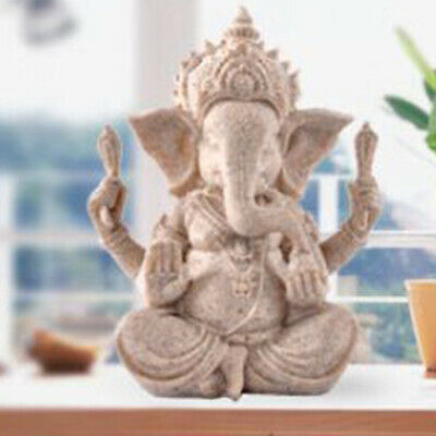Hand Carved Sandstone Seated Ganesh Buddha Deity Elephant Hindu Statue Decor • 8.27£