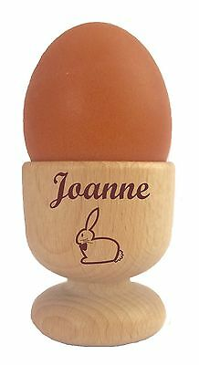 £8.95 • Buy Personalised Wooden Dippy Egg Cup Rabbit & Any Name Easter Birthday Christmas