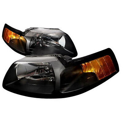 $89.99 • Buy 99-04 Ford Mustang Black Housing Headlights Amber SVT Convertable Saleen Cobra