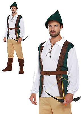 Mens Robin Hood Hunter Fancy Dress Costume Outfit Adult With Hat  • 12.40£