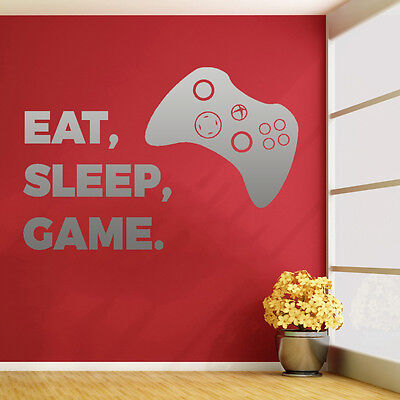 XBOX EAT SLEEP GAME Vinyl Wall Sticker Art Decal Childrens Den Bedroom Gaming • 3.99£