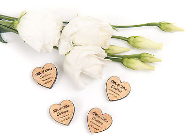 Personalised Engraved Wooden Mini Heart Wedding Confetti Table Favours 5mm Oak • 10.95£