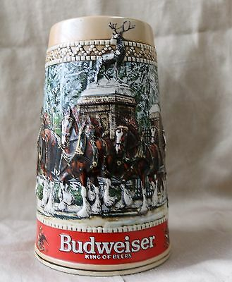 $ CDN25.52 • Buy Budweiser 1987 Clydesdale Holiday Beer Stein - A Brisk Wintery Day - Vintage