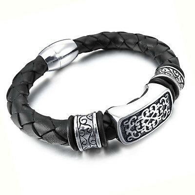 MENDINO Men's Stainless Steel Leather Bracelet Tribal Totem Cuff Magnetic Clasp • 7.99£